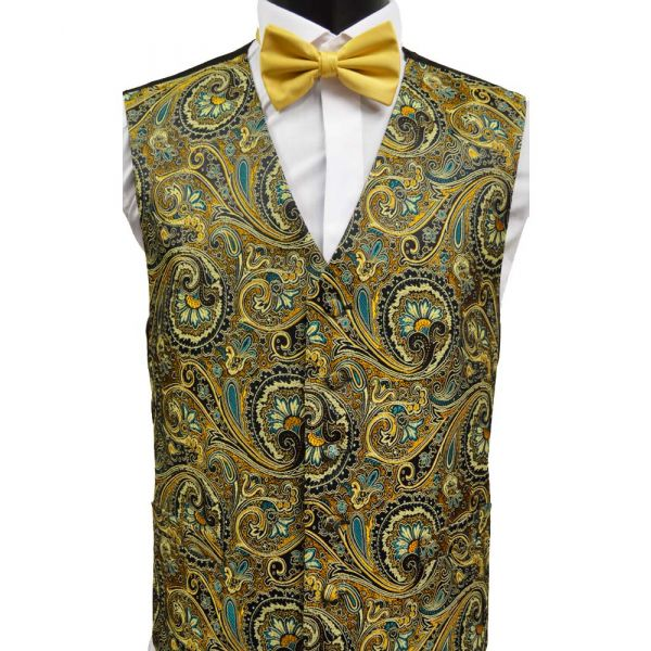 Black Floral Paisley Design Waistcoat from Lloyd Attree & Smith