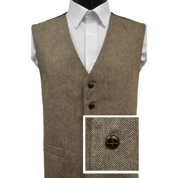 Brown and Beige Wool Handle Waistcoat from Lloyd Attree & Smith