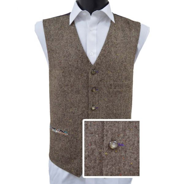 Brown Donegal Wool Handle Waistcoat
