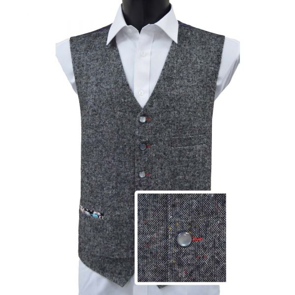 Grey Donegal Wool Handle Waistcoat