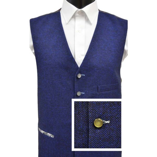 Blue Herringbone Wool Handle Waistcoat