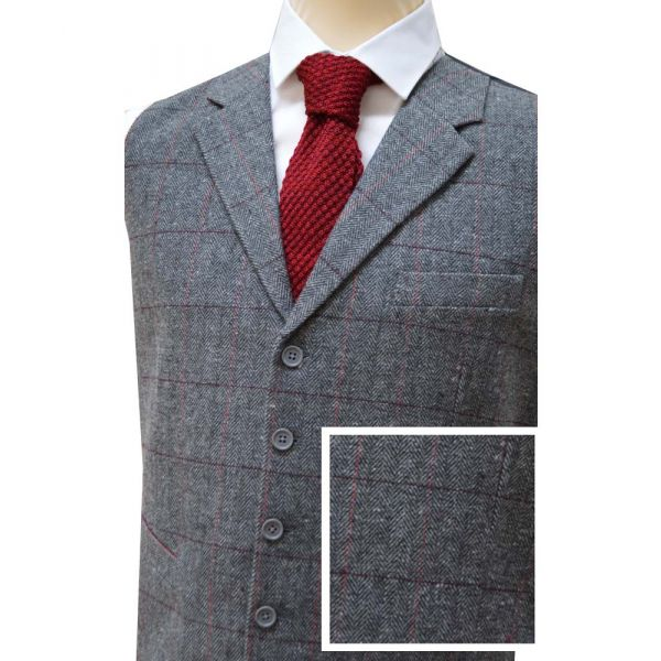Grey Wool Handle Waistcoat with Collar