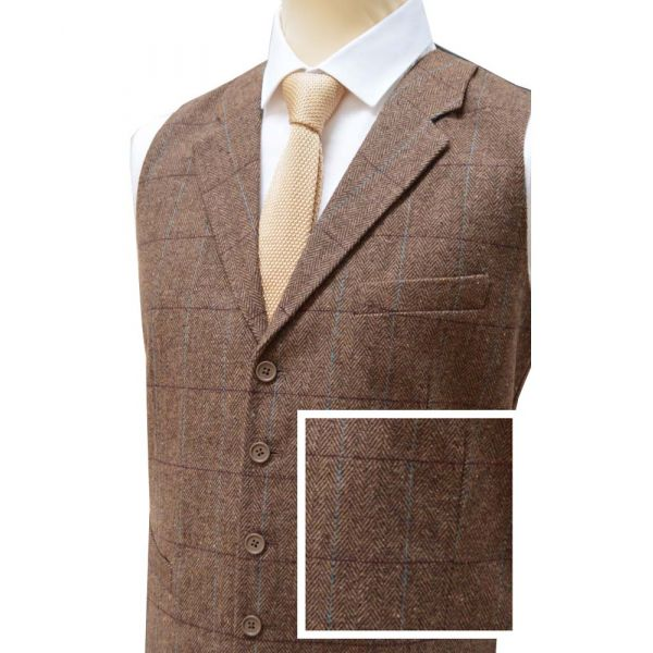 Warm Brown Wool Handle Waistcoat with Collar