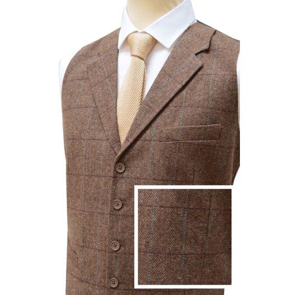 Warm Brown Wool Handle Waistcoat with Collar