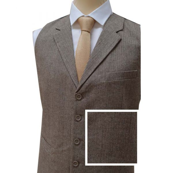 Light Brown Wool Handle Waistcoat with Collar