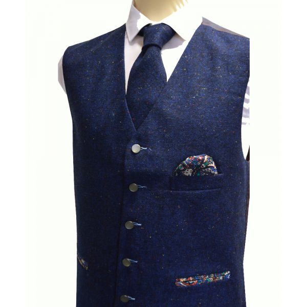 Blue Flecked Tweed Wool Handle Waistcoat