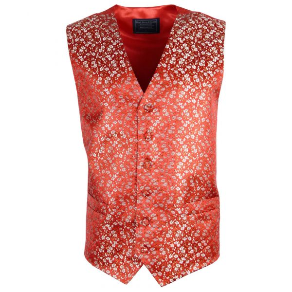 Bright Red Waistcoat with Small Gold Floral Design from Lloyd Attree and Smith