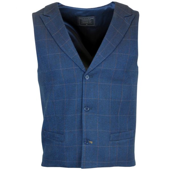 Navy Lapel Collar Patterned Back Warm Handle Waistcoat from Lloyd Attree & Smith