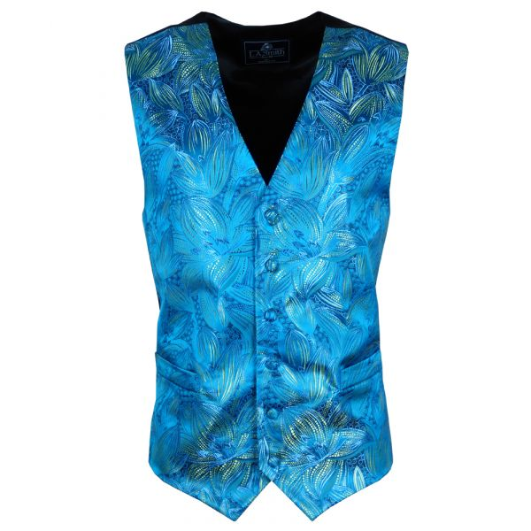 Turquoise with Lily Design Waistcoat from Lloyd Attree & Smith