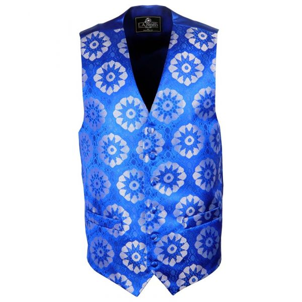 Mens Waistcoat with Blue Retro Flower Design from L.A. Smith