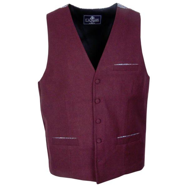 Liberty Tessa Design Patterned Back Wine Waistcoat
