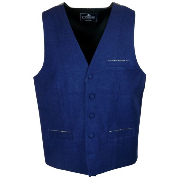 Made with Liberty Fabric Peach Pincher Design Patterned Back Navy Waistcoat