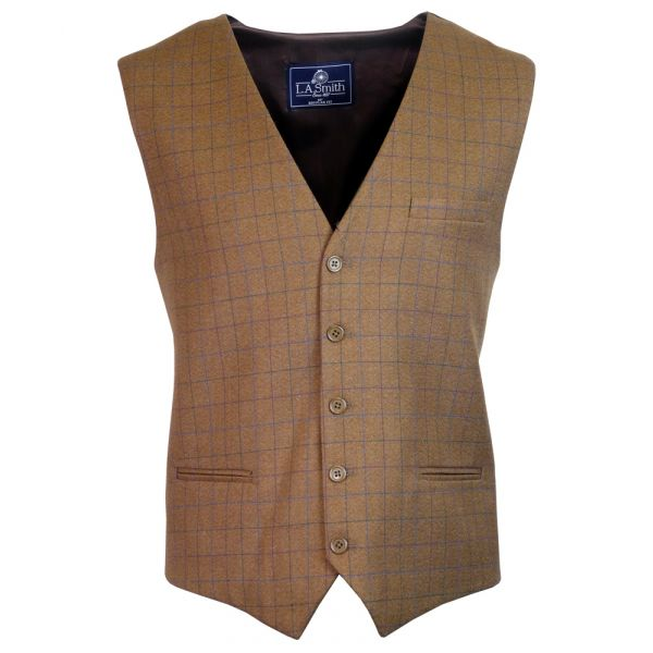 Mens Waistcoat in Camel with Window Check Design
