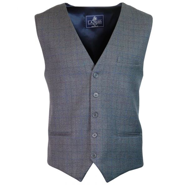 Mens Waistcoat in Grey with Window Check Design
