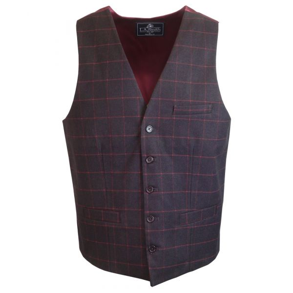 Mens Tailored Waistcoat in Wine with Window Check Design