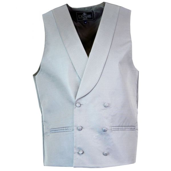 Grey Double Breasted Waistcoat with Collar - WW605