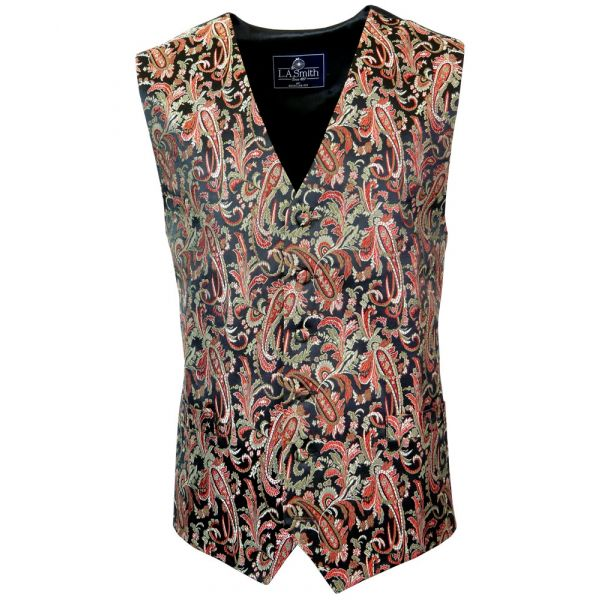 Mens Waistcoat with Paisley Style Design from L A Smith