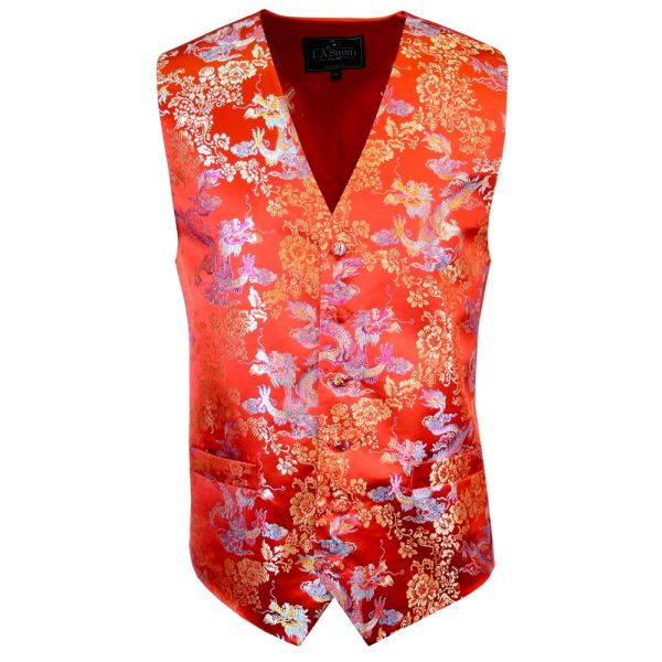 Red with Gold and Blue Dragons Design - Mens Waistcoat from L A Smith