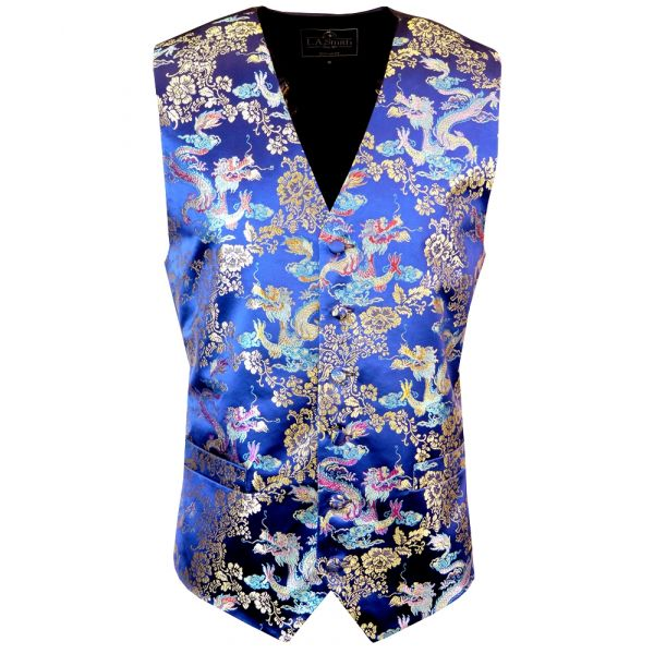 Navy Blue with Gold and Blue Dragons Design - Mens Waistcoat from L A Smith