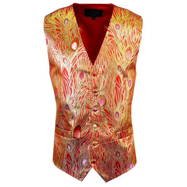 Red with Gold Feathers Design - Mens Waistcoat from L A Smith