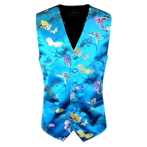 Blue Butterflies Design - Mens Waistcoat from L A Smith