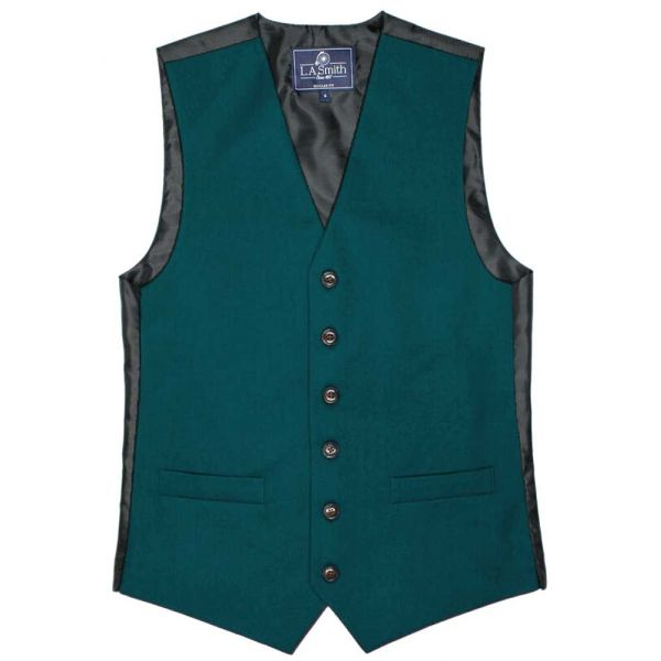 Country Style Waistcoat in Dark Teal from L A Smith - S