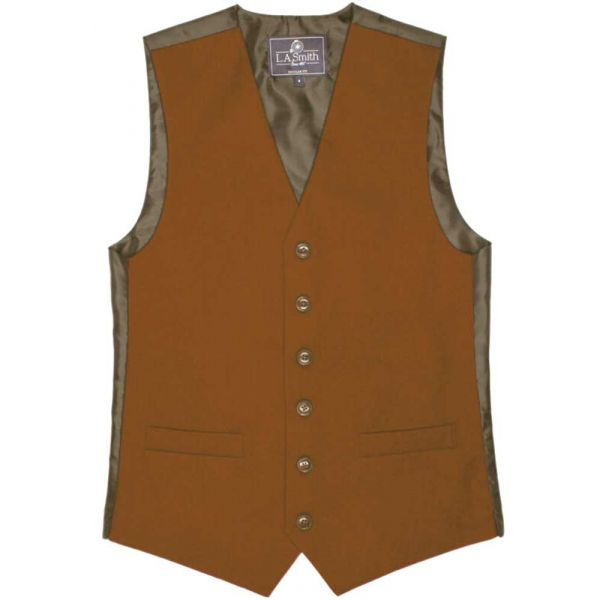 Country Style Waistcoat in Rust from L A Smith - S