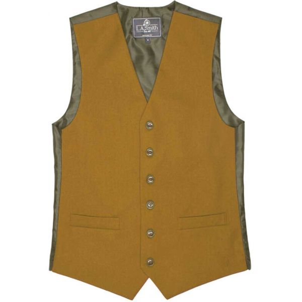 Country Style Waistcoat in Mustard from L A Smith - S