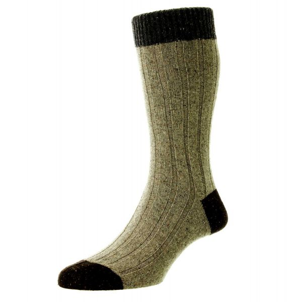 Scott Nichol Socks - Mens - Thornham - Top Heel and Toe - Wool  - Half Calf - YS1025
