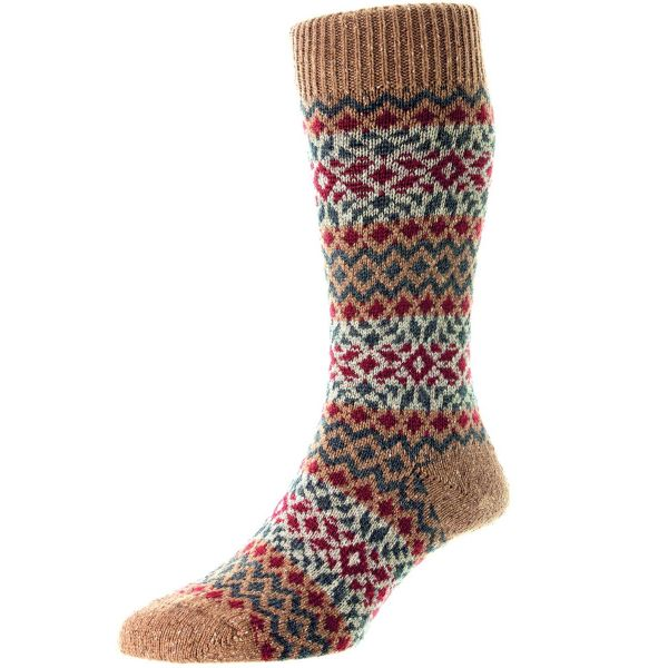 Scott Nichol Socks - Mens - Fellcroft - Fairisle - Wool  - Half Calf - YS1026