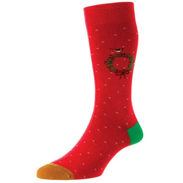 Scott Nichol Socks - Mens -  Christmas Wreath - Cotton