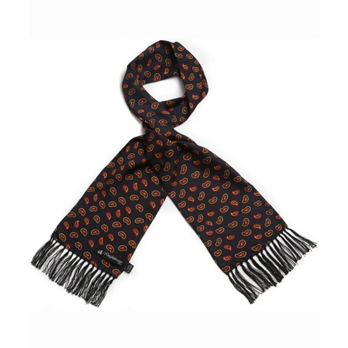 Black with Red Paisley Silk Aviator Scarf from Knightsbridge Neckwear