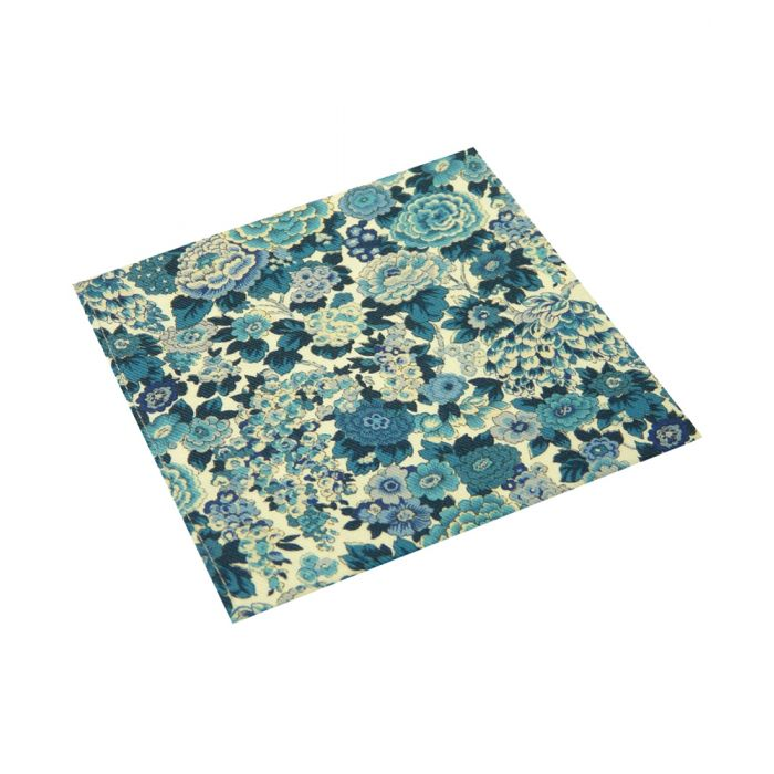 Made with Liberty Fabric Linen Cotton Pocket Square - Blue Elysian Day