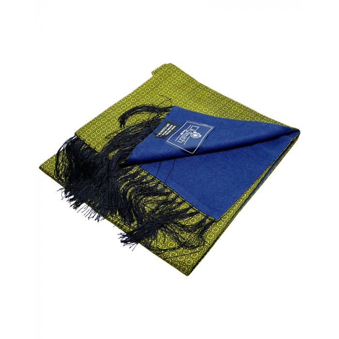Gold with Black Design Wool Backed Silk Scarf from LA Smith