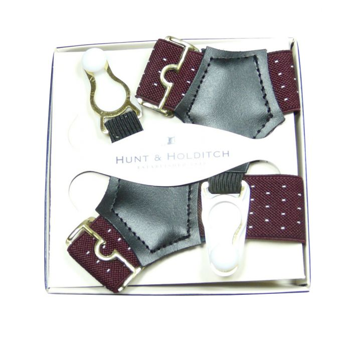 Wine Spot Sock Suspenders from Hunt & Holditch