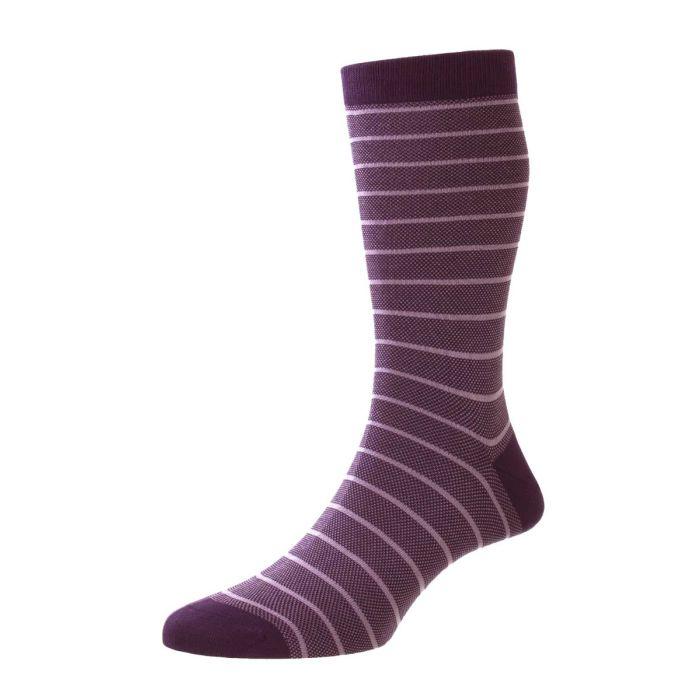 Pantherella Socks - Barrington - Mens Fil D'Ecosse Cotton - Birdseye Stripe - Half Calf - Short