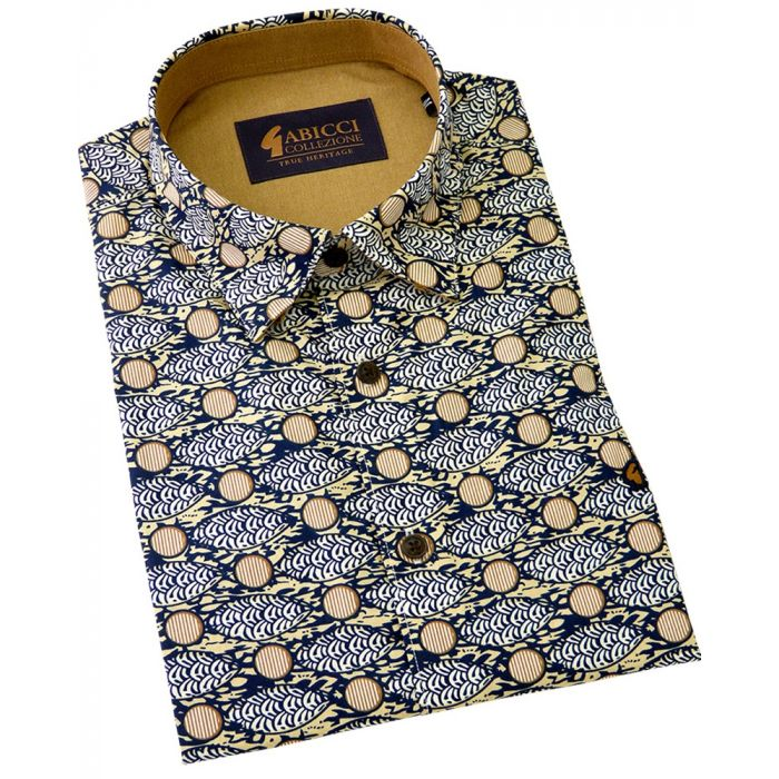 Gabicci - Mens Short Sleeve Cotton Shirt  in Navy with Sand Design