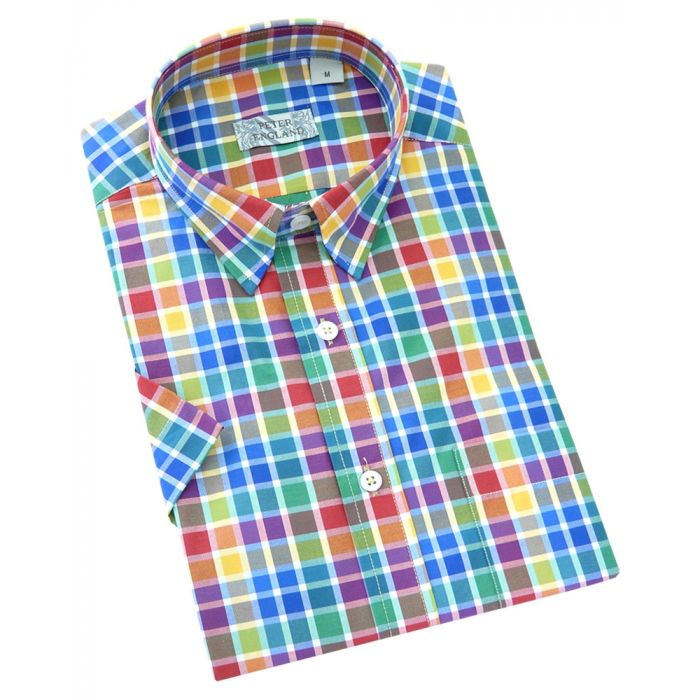 Peter England - Mens Short Sleeve Cotton Shirt  in Multicolour Check