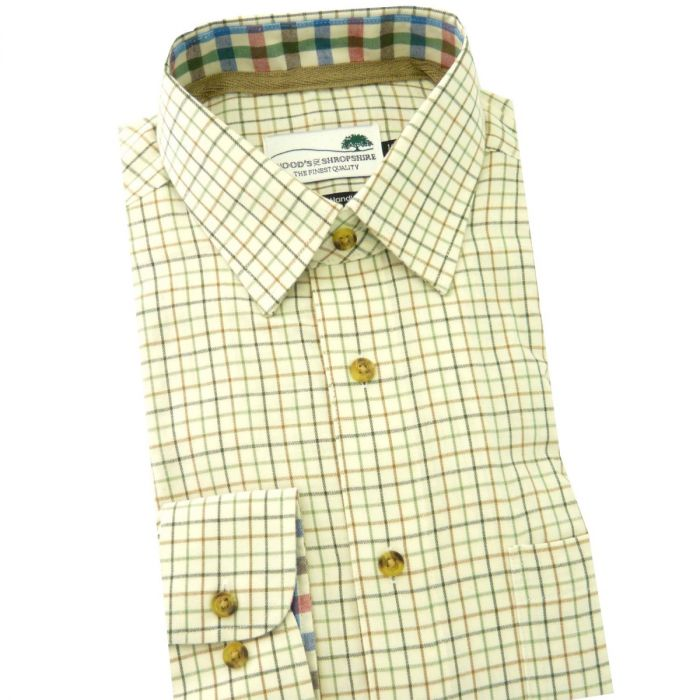 Green and Brown Tattersall -  Warm Handle Cotton Shirt from Woods of Shropshire