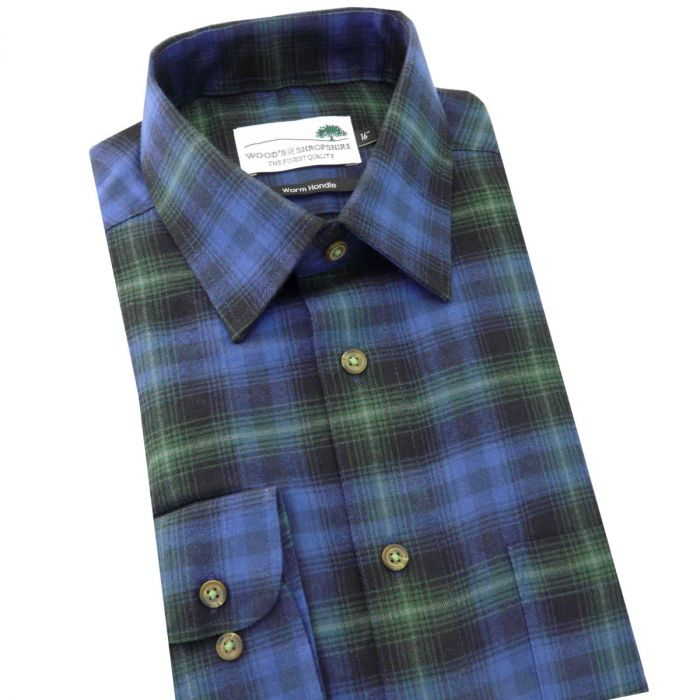 Blue Tartan -  Warm Handle Cotton Shirt from Woods of Shropshire