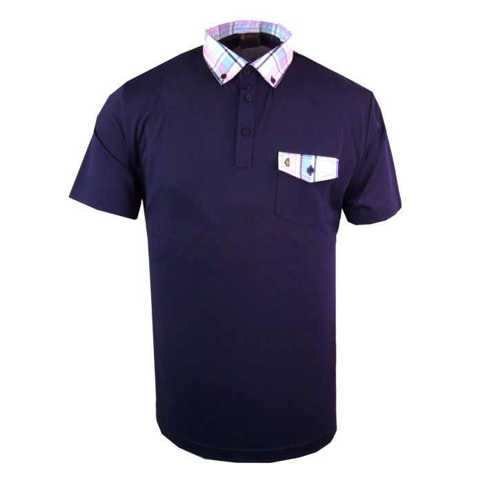 Classic Gabicci Polo Shirt with Contrast Button Down Collar and Trim