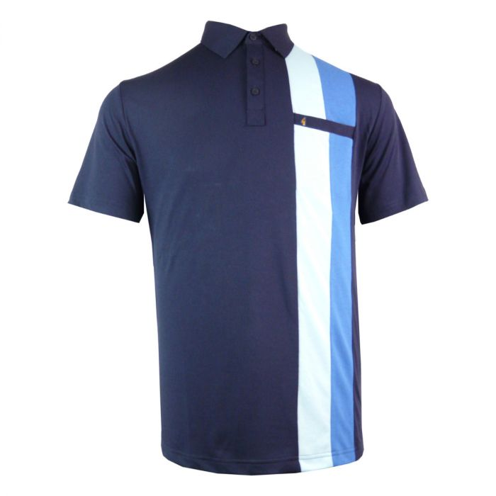 Classic Gabicci Polo Shirt with One Side Block Stripes