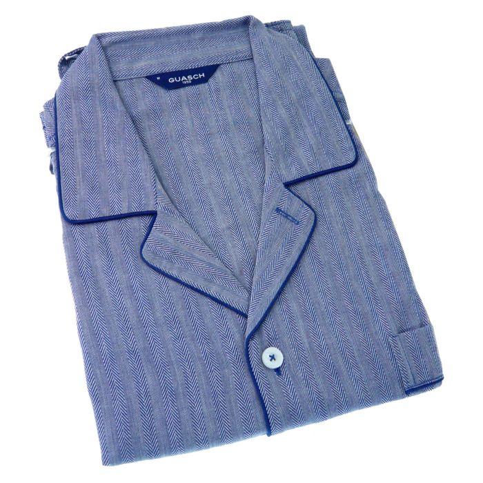 Guasch - Mens Cotton Pyjamas in Navy Herringbone Design