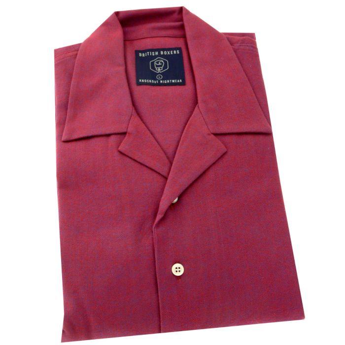 British Boxers - Mens Brushed Cotton Overhead Nightshirt - Rioja Herringbone