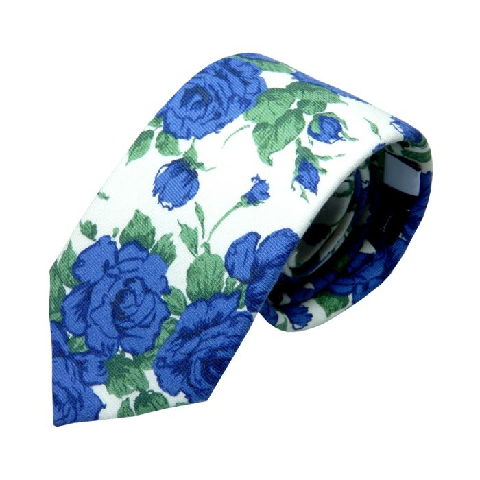 Made with Liberty Fabric Linen Cotton Tie - Blue Carline Roses