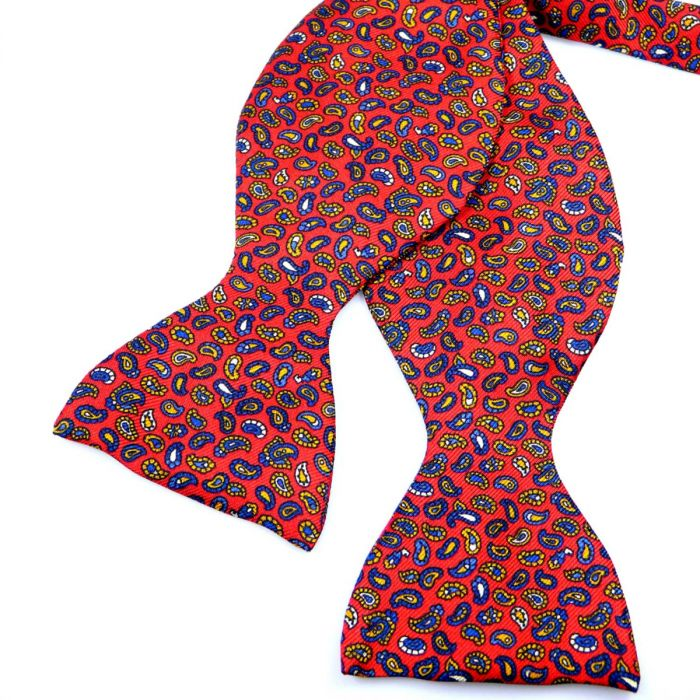 Self Tie Silk Bow Tie in Red with Tiny Paisley Design from Hunt and Holditch