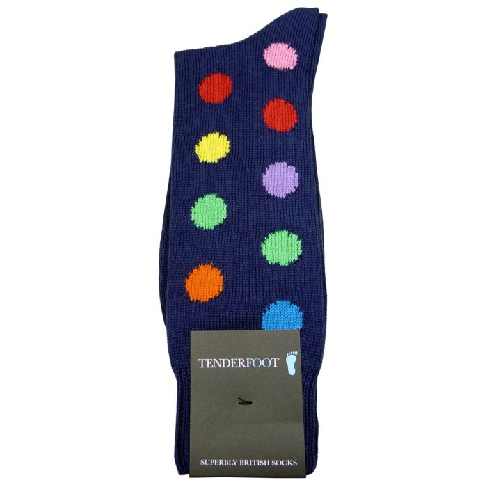 Smartie Collection 9 Colour Mens Spotted Cotton Sock from Tenderfoot