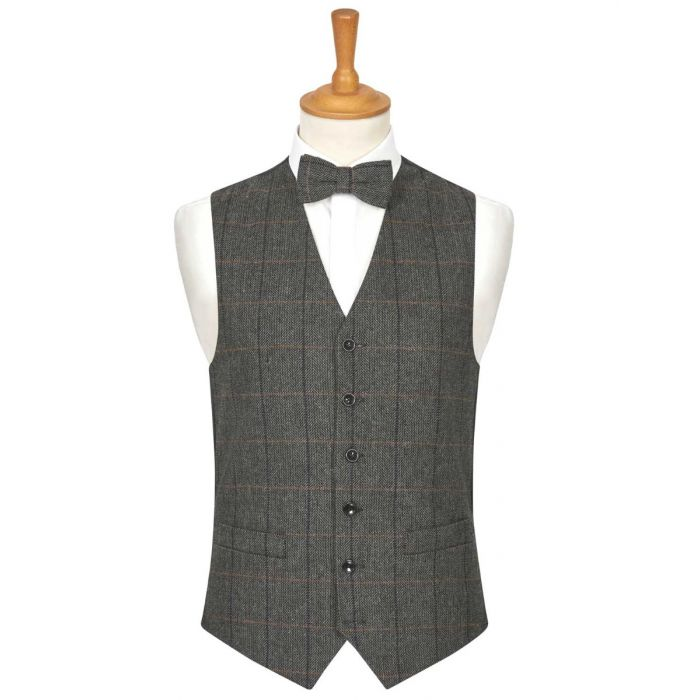 Grey Herringbone Check Wool Handle Waistcoat